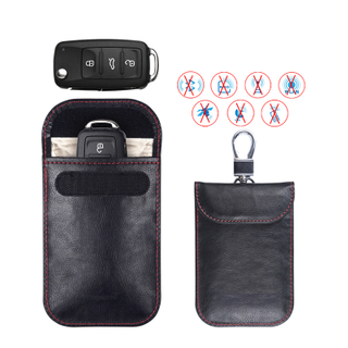 Factory OEM Wholesale High-quality Car Key Fob Protector Pouch Leather Car Key RFID Blocking bag