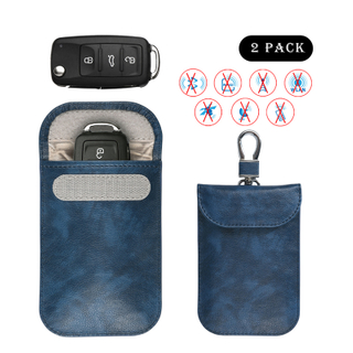 Factory OEM Cheap Price Car Key Fob Protector Pouch Leather Car Key RFID Bloking bag