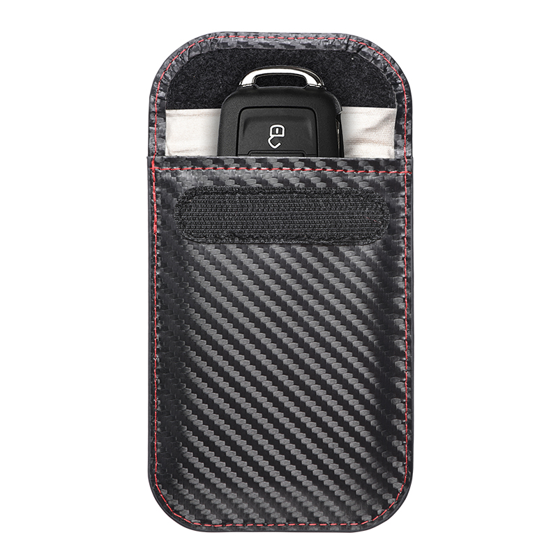 Carbon Fiber Waterproof RFID Blocking Faraday Key Fob Case Bag Keyless Protector Car Key Signal Blocker Pouch