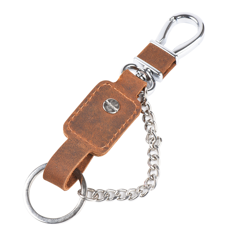 Luxury Vintage Brown Cowhide Genuine Leather Strap Leather Key Organizer Armband Keychain